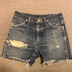 Wrangler vintage high waist distressed jean shorts